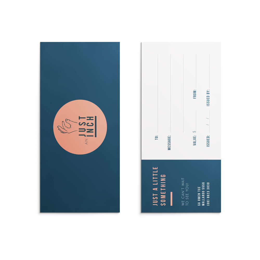 Just An Inch Gift Voucher Design