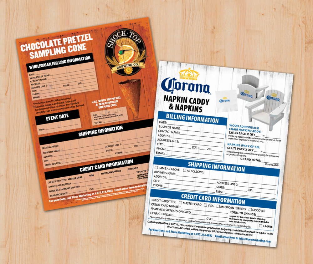 Corona Napkin Caddy and  Shocktop Cone Order Forms