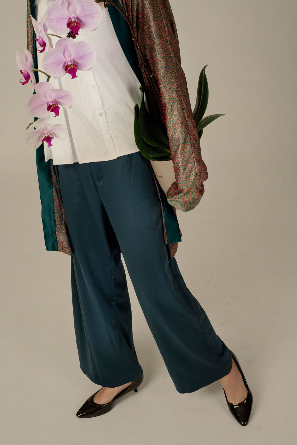 Pleated Shirt, Slip Jacket and Satin Trousers