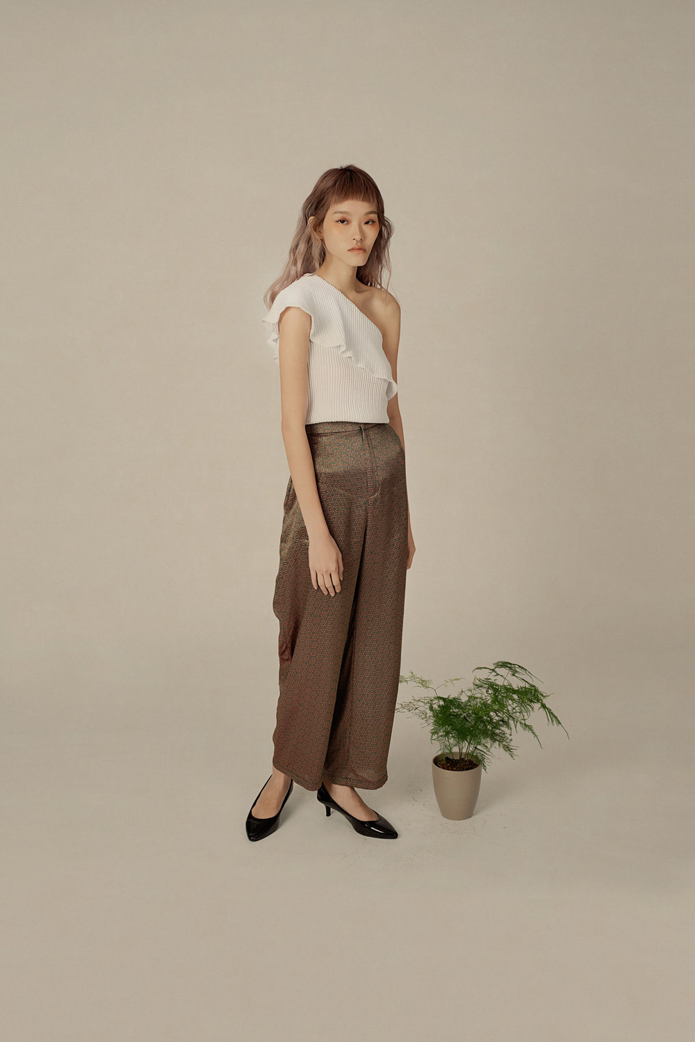 Pleated Toga Top and Silk Blend Trousers