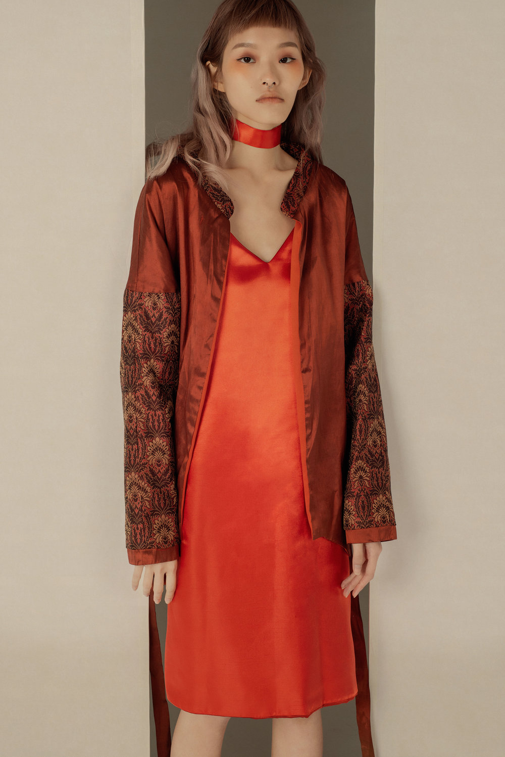 Slip Dress and Raw Silk Jacket