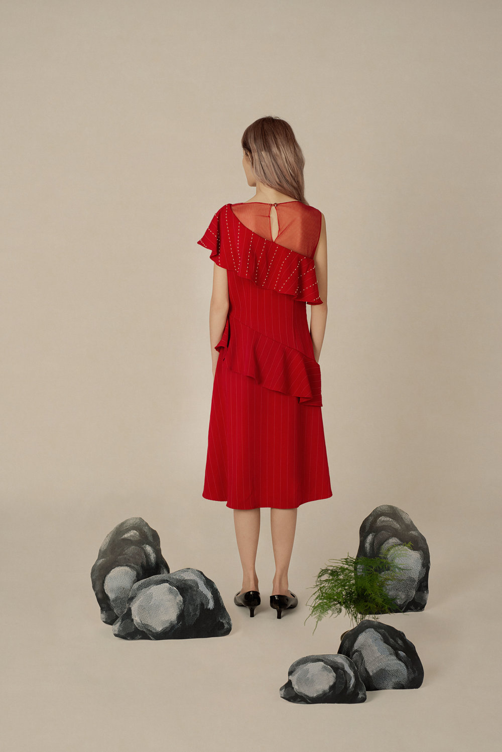 Asymmetrical Crepe Ruffle Dress