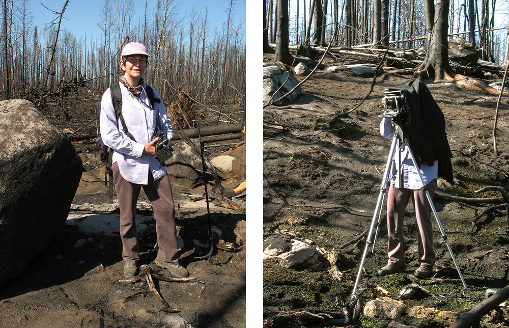 First visit to photograph the fire area in May 2012 accompanying Lawson Gerdes, ecologist with the Minnesota Department of Natural Resources Biological Survey (who took these photos of me).