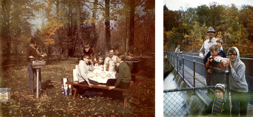 Flanagan family picnic at Hayman Falls County Park, 1970. Concrete dam on right is remnant of hydroelectric facility