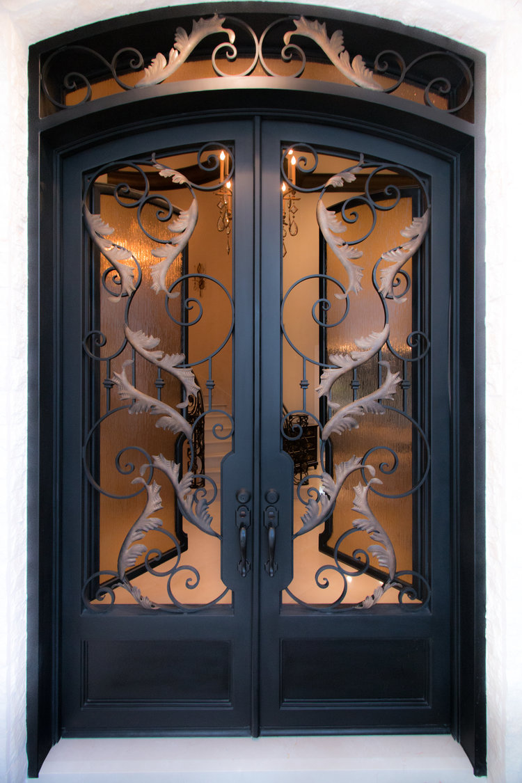 Custom Designed, Hand Forged Wrought Iron Door in Chino Hills, California