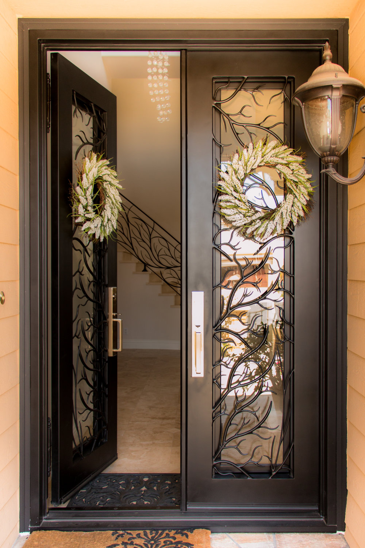 Custom Designed, Hand Forged Wrought Iron Door in Orange County, California