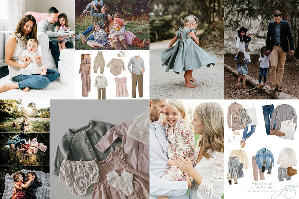 Above is a mood board of ideas of what to wear, soft tones, layers, textures and light patterns.             Photos: Unknown sources from Pinterest.