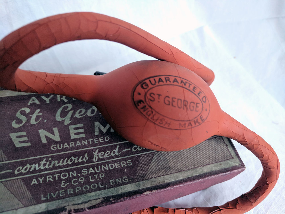 Vintage enema kit - The rubber has perished, but even if it hadn't I wouldn't fancy it :)