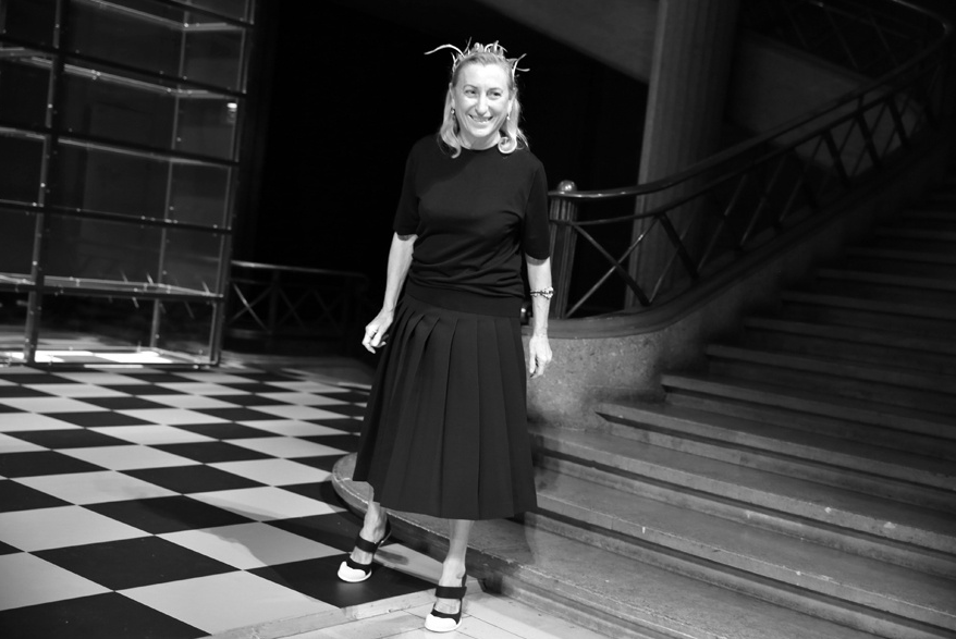 Miuccia Prada at the end of the Miu Miu show. Source: Vogue France