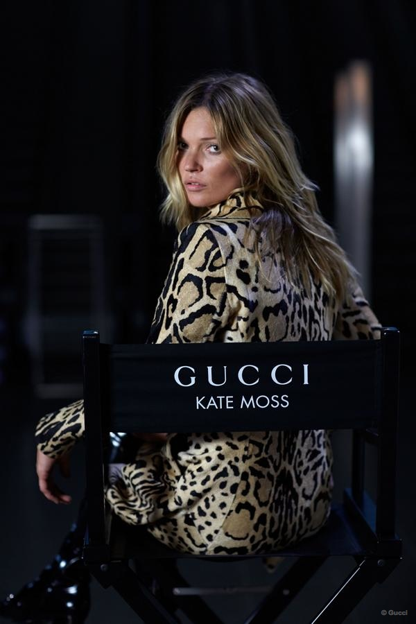 Kate Moss on the go for Gucci in the fashion house's latest fall campaign. Source: Gucci