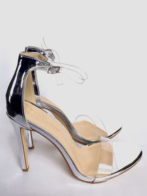 bd6729c1ebe Silver Clear Strap Open Toe Single Sole High Heel Patent - SIZE 10