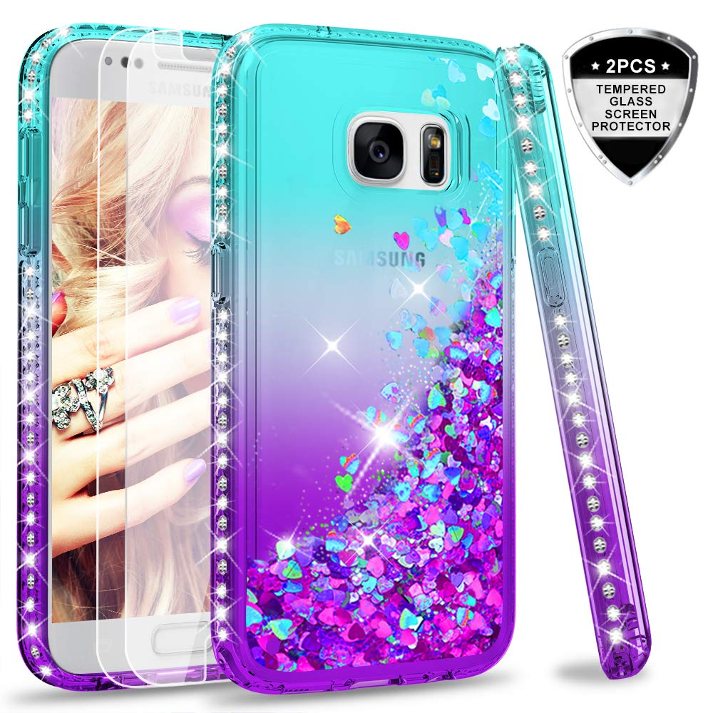 new products b6c43 5329a Turquoise & Purple samsung S7 Case, Galaxy S7 Glitter Case with Screen  Protector Premium Clear and Glitter Liquid Quicksand Waterfall Floating