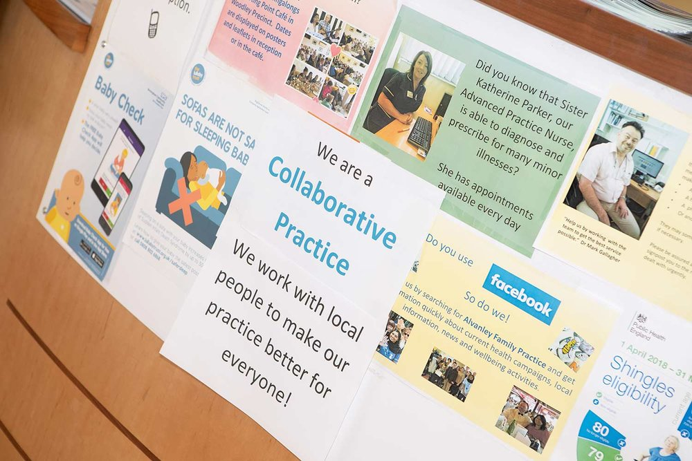 A poster about Collaborative Practice on the GP surgery wall