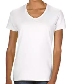 White Ladies Cut V-Neck T-Shirt.JPG