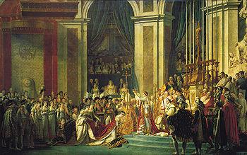Le Sacre de Napoléon du 2 décembre 1804 Artiste: Jacques-Louis David (1748-1825)Après s'être couronné de sa main, nous voyons Napoléon couronnant la nouvelle impératrice Joséphine, son épouse, sous le regard du pape; étaient présents ses sept frères et sœurs entourés de ses généraux, de la plupart des ambassadeurs européens ainsi que de la nouvelle noblesse impériale