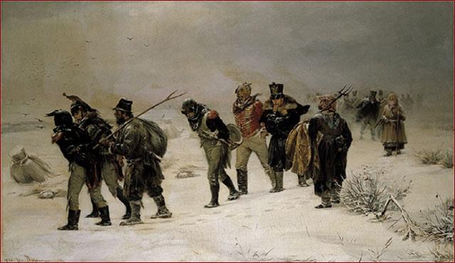 En 1812   Artiste: Illarion Prianichnikov  Prisonniers français; près de 200 000 soldats de la Grande Armée furent faits prisonniers en Russie