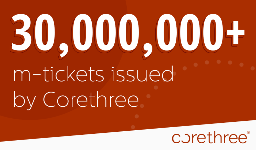 30000000 mobile tickets issued by Corethree