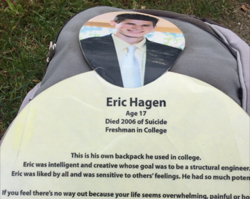 Send the Silence packing-Suicide Awareness Exhibit. In memory of Eric Hagen, a beautiful young man gone to soon.