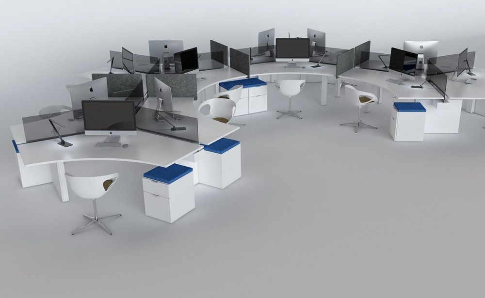 120˚ Benching - Innovant's REX and FORm_office products are available in 120˚ configurations in both fixed and sit-to-stand.