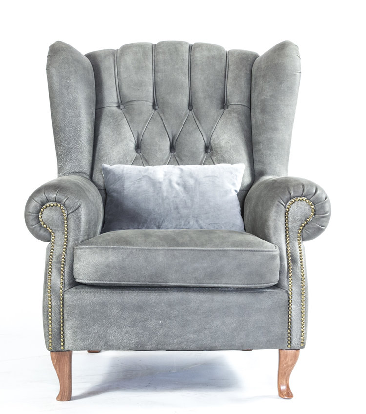 SilverGrey Buttoned Armed Chair.JPG