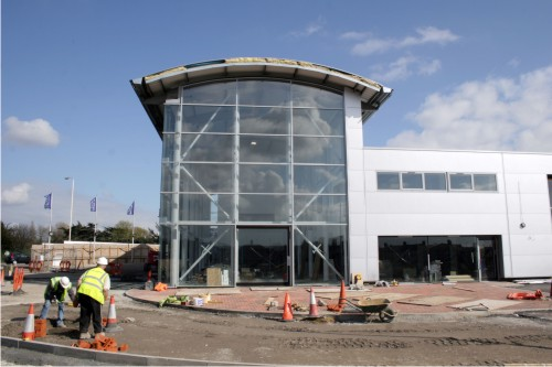 Car showroom glass facade full height