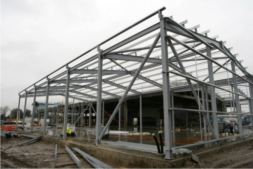 Full construction of steel frame building
