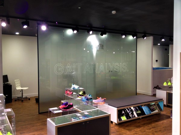 Glass partitioning of store areas