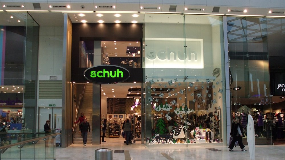 Schuh shopfront fit out to latest corporate style