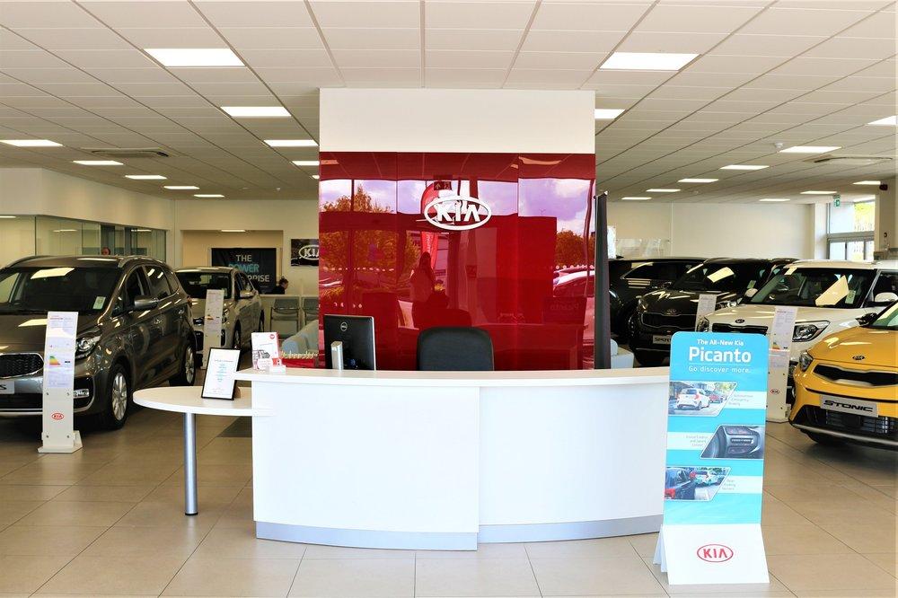 New car showroom reception desk