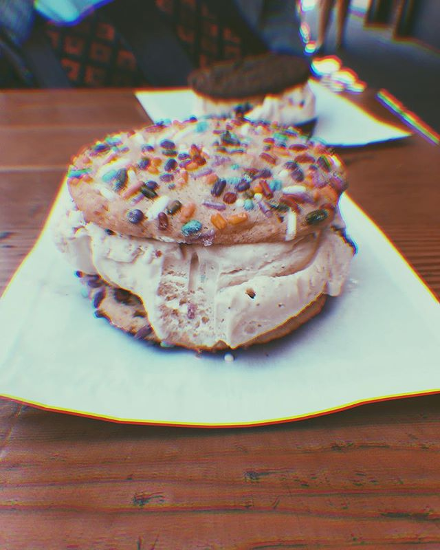 I think there needs to be more ice cream on my feed. So here's the delicious sandwich I got from @rubyjewelicecream • My pants no longer fit, FYI. I'll need to thrift myself a few larger pairs to bring on future vacations. • • #upcycling #upcycle #thrifters #thriftstorefinds #thrifting #embroidery #fblogger #thrifted #diy #craftblogger #embroideryart #upcycledclothing #fashiononabudget  #sustainablefashion #thriftblogger #creativityfound #diyblogger #clevelandblogger #secondhand #secondhandfirst #recycledfashion #thatsdarling #mybeautifulmess #portland #rubyjewel #bingeeating