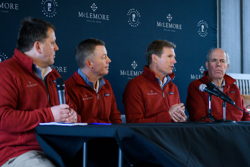 Duane Horton, Steve Weisser, Bill Bergin and Roland Aberg discuss the historic re-design of The Course at McLemore and Golf Village.