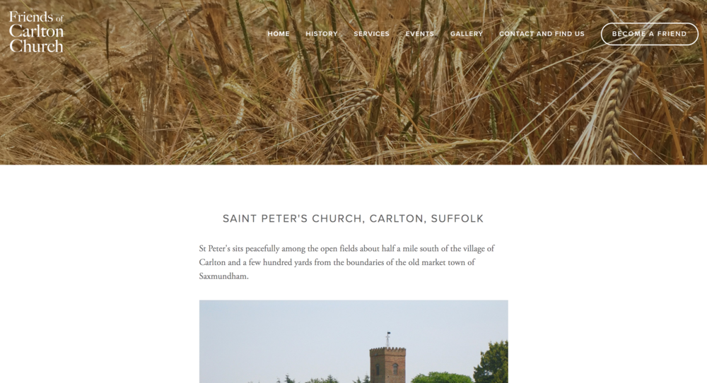 Community - At Sculpt, we also enjoy getting involved in community projects. Here we designed a simple site for a quaint Suffolk church set in a beautiful landscape amidst a corn field showcasing their summer services and concerts.