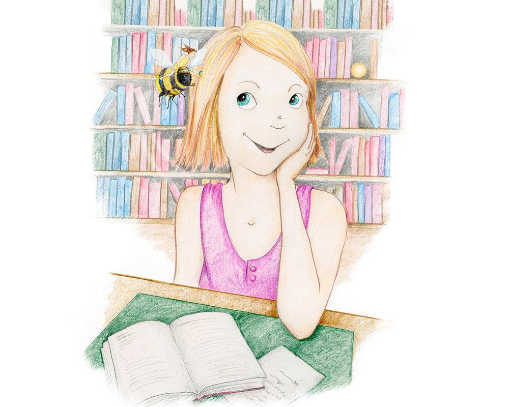 Lisa Larssons värld - Jag tänkte att det här var en alldeles lysande dag. Tänk om Ebba eller fröken bara visste. Jag satt under rosorna och tittade på en piprökande humla med hatt och en flicka som kunde sitta på hans rygg. Och det var alldeles sant.