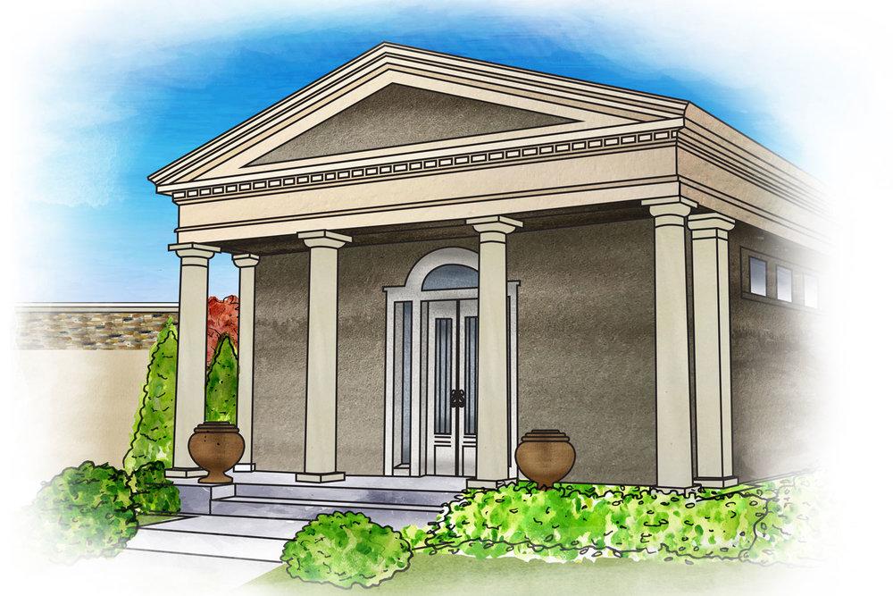 Custom Private Family Mausoleum Concept Illustration