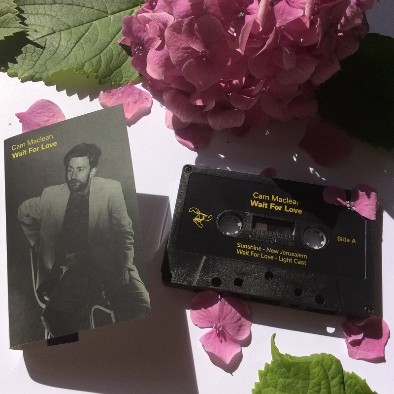 Layout of the cassette art for Cam Maclean's  Wait For Love  release; courtesy of the artist/Atelier Ciseaux.