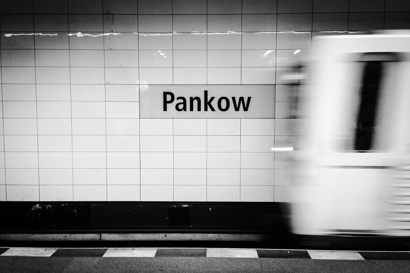 Arriving in Panknow, Berlin by tram; press photo.