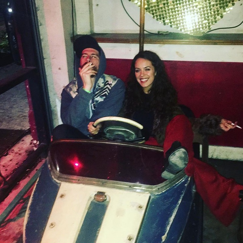 BUHU in bumper cars ( from left ) with Jeremy Rogers & Tiffany Paciga; press photo via  Facebook .