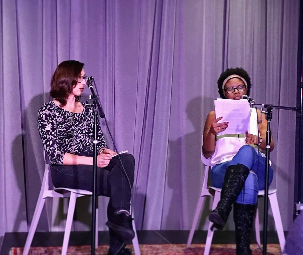 Jordannah answers questions about  Deep Blue Sea  with writer, Tracy Dimond; courtesy of Jordannah Elizabeth.
