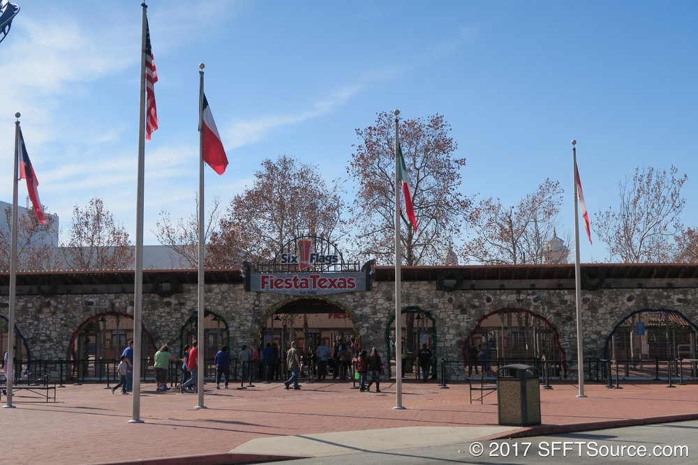 The security entrance to Fiesta Texas.