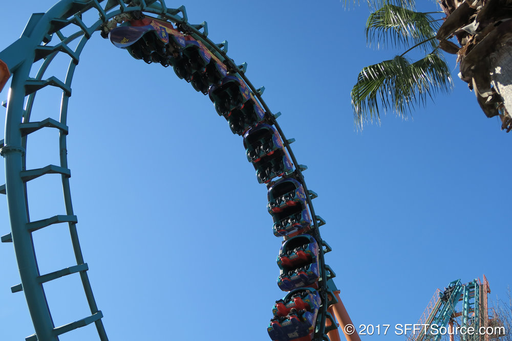 The train travels through the ride's loop.