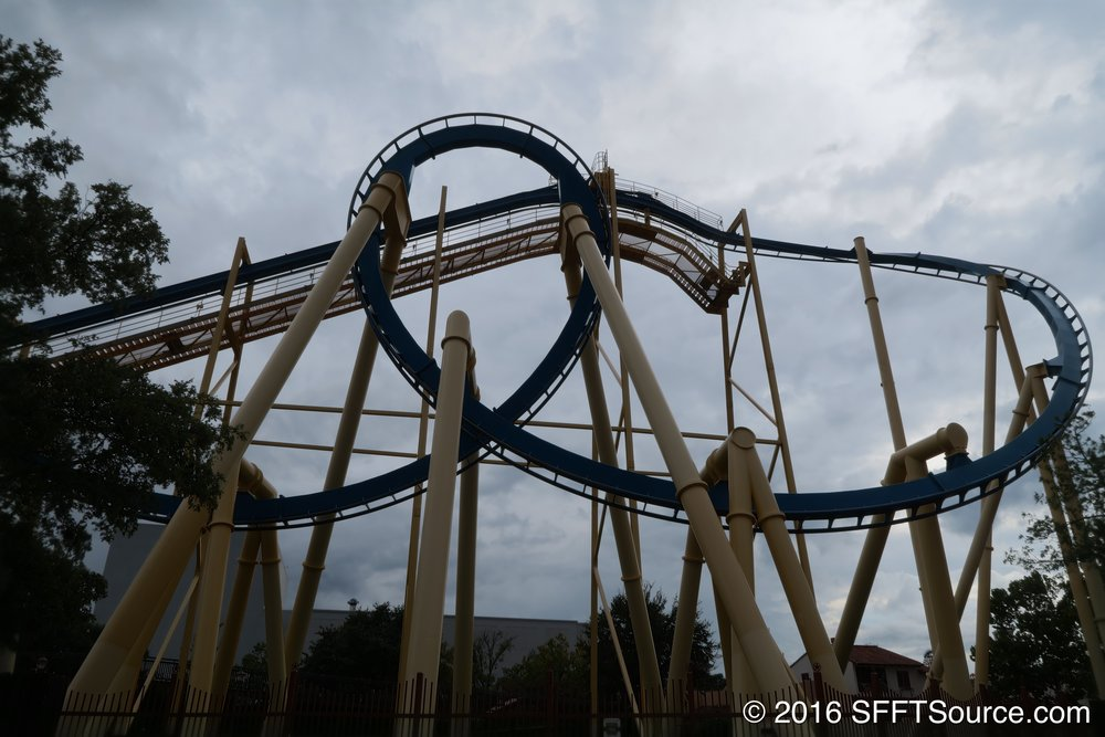 The first drop and inversion of Goliath.