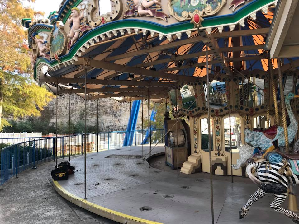 Crews dismantle the ride in Rockville in preparation for the move to its new home near Sangerfest Halle in Spassburg. Credit: Fiesta Texas