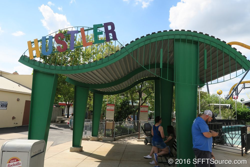 The main entrance to Hustler.