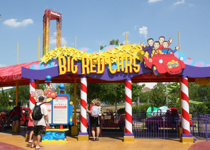 The entrance to Big Red Cars during the Wiggles World era. Credit: SRO