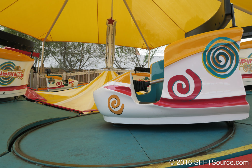 A close-up of the ride cars.
