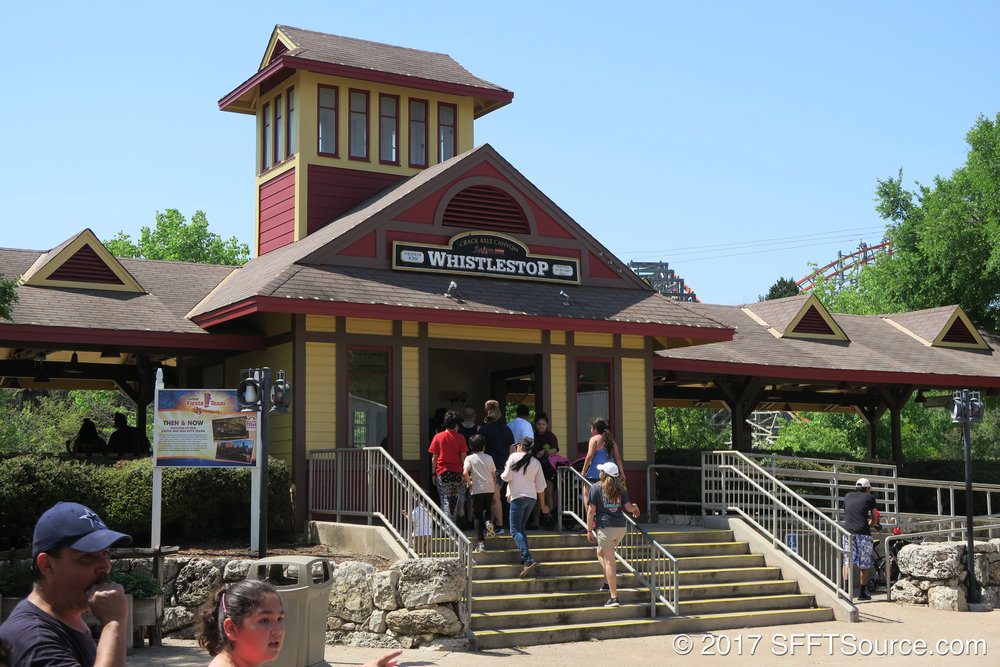 Whistle Stop is one of two train stations at Fiesta Texas.