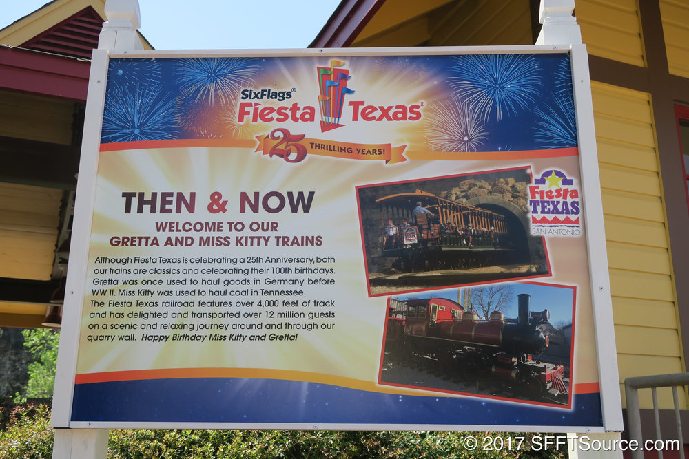 A historical sign placed at Whistle Stop for the park's 25th anniversary in 2017.
