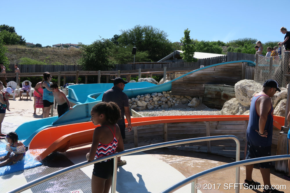 Bamboo Chutes are children's slides that lead into Paradise Cove.