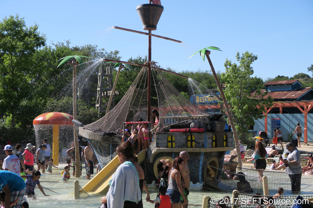 A closer look at Splash Water Springs' pirate ship play area.