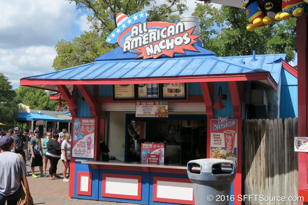 All-American Nachos is located in Spassburg near Superman Krypton Coaster.
